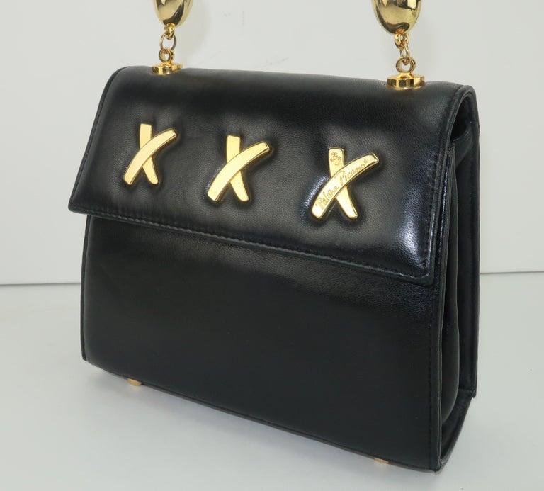 Paloma Picasso Black Leather X Logo Handbag In Good Condition For Sale In Atlanta, GA