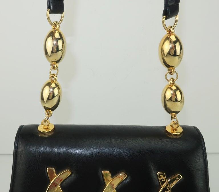 Women's Paloma Picasso Black Leather X Logo Handbag For Sale