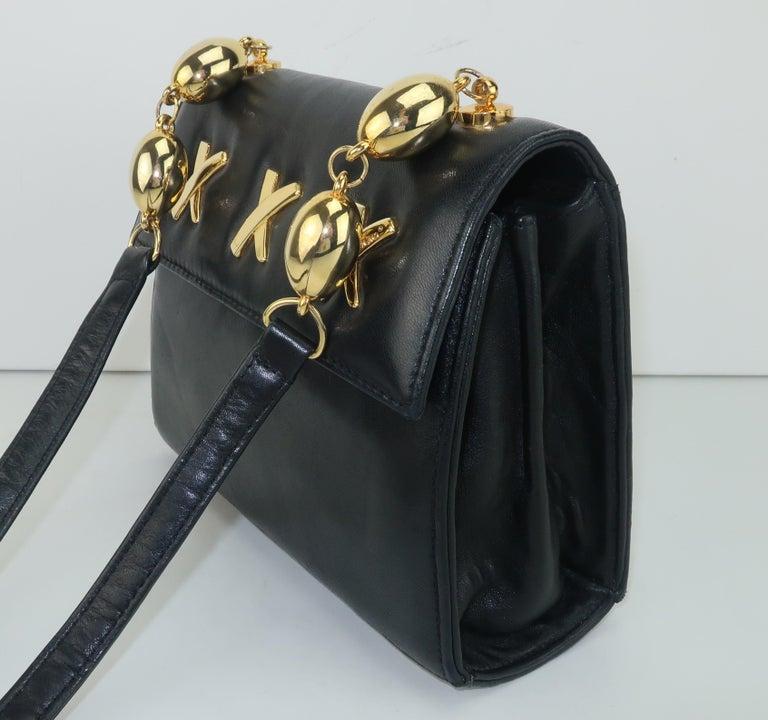 Paloma Picasso Black Leather X Logo Handbag For Sale 1