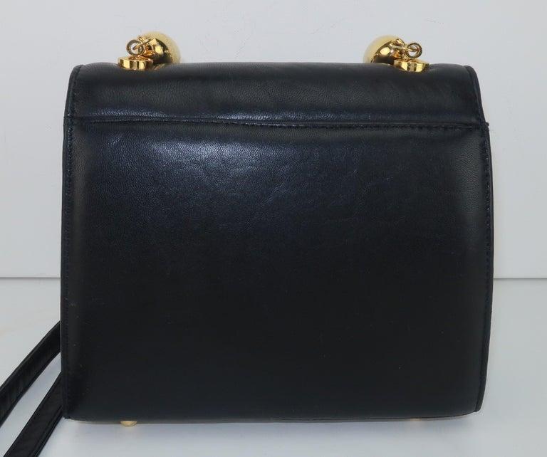 Paloma Picasso Black Leather X Logo Handbag For Sale 2