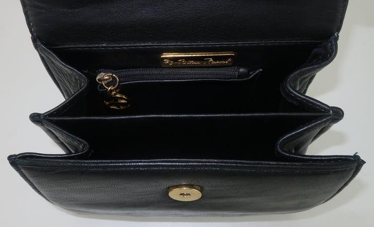 Paloma Picasso Black Leather X Logo Handbag For Sale 4