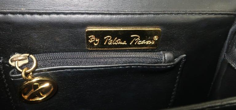 Paloma Picasso Black Leather X Logo Handbag For Sale 5