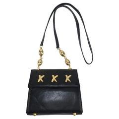 Paloma Picasso Black Leather X Logo Handbag