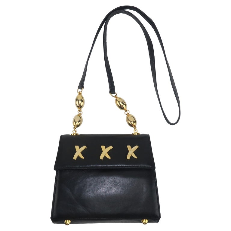 Paloma Picasso Black Leather X Logo Handbag For Sale