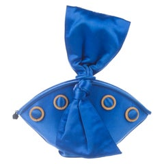 Paloma Picasso Blue Satin Bow Evening Bow, 1980s