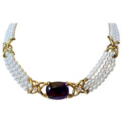 Paloma Picasso for Tiffany & Co. Amethyst-Diamond and Pearl Choker Necklace