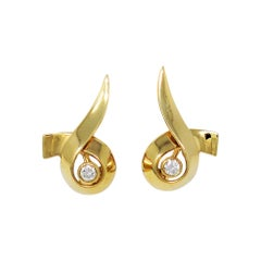 Paloma Picasso for Tiffany & Co. 18 Karat Gold Ribbon Earrings with Diamond