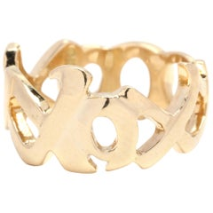 Paloma Picasso for Tiffany & Co. 18 Karat Yellow Gold XO Band Ring