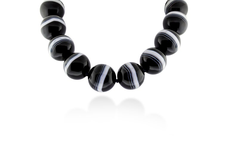 Contemporary Paloma Picasso for Tiffany & Co. Agate Bead and Sterling Silver Necklace For Sale