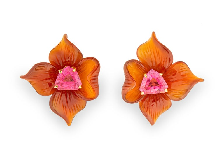 Contemporary Paloma Picasso for Tiffany & Co. Carved Carnelian and Tourmaline Earrings For Sale