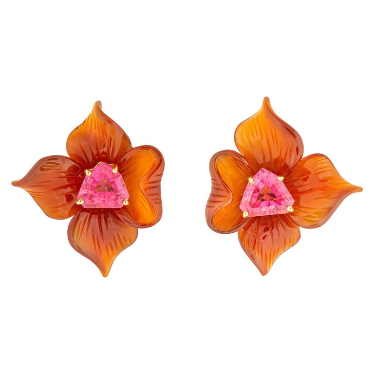 Paloma Picasso for Tiffany & Co. Carved Carnelian and Tourmaline Earrings For Sale