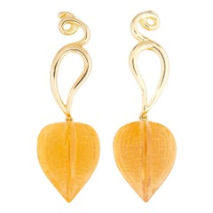 Paloma Picasso for Tiffany & Co. Carved Citrine and Gold Earrings