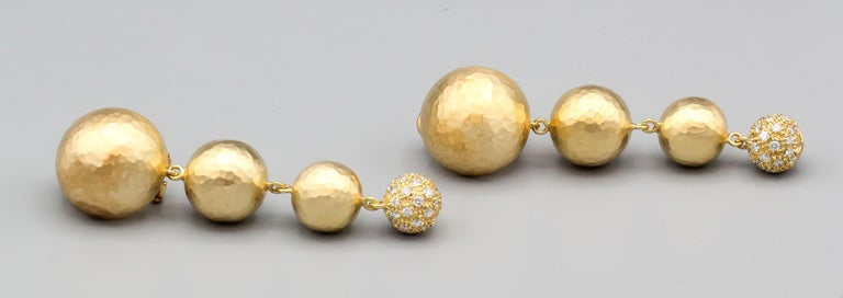 Round Cut Paloma Picasso for Tiffany & Co. Diamond 18 Karat Gold Planets Earclips For Sale