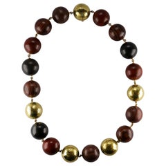Paloma Picasso for Tiffany & Co. Exotic Wood and Hammered Gold Bead Necklace