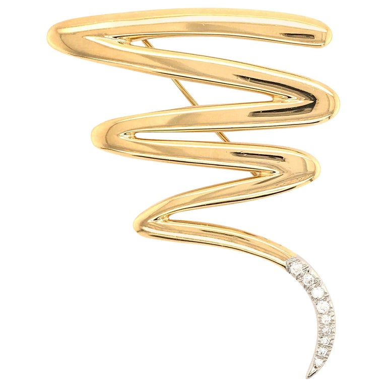 Paloma Picasso for Tiffany & Co., Gold and Diamond Squiggle Brooch For Sale