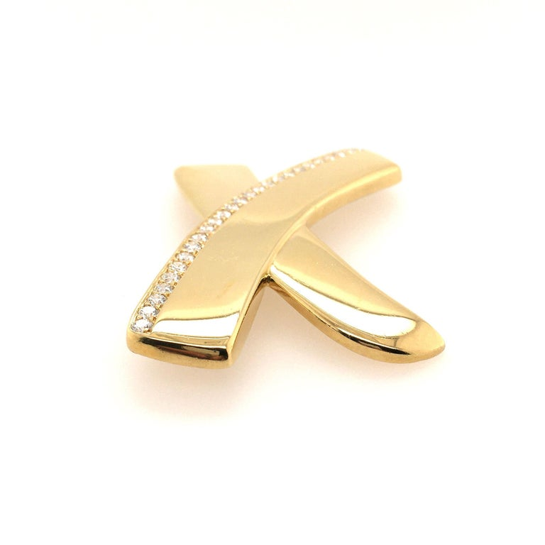 Round Cut Paloma Picasso for Tiffany & Co., Gold and Diamond X Motif Brooch For Sale