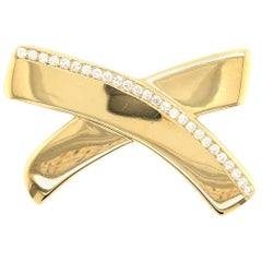 Paloma Picasso for Tiffany & Co., Gold and Diamond X Motif Brooch