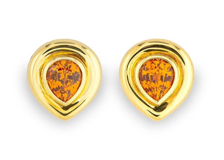 Paloma Picasso for Tiffany & Co. Mandarin 'Spessartite' Garnet Earrings In Excellent Condition In Atlanta, GA