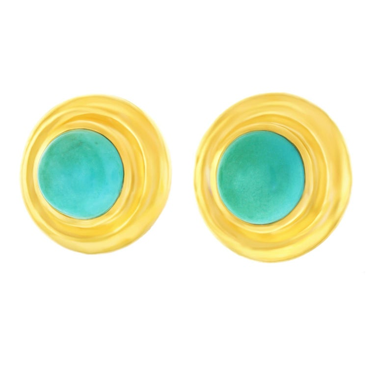 a171a21ff Paloma Picasso for Tiffany & Co. Turquoise Set Gold Earrings In Excellent  Condition For Sale