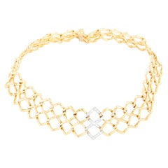 Paloma Picasso for Tiffany & Co. Vintage 1980's Diamond and Gold Necklace