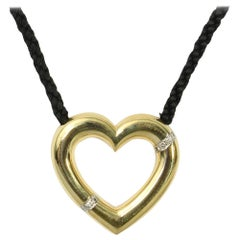 Paloma Picasso for Tiffany Gold Open Heart Pendant with Diamonds