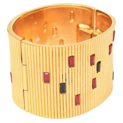 Paloma Picasso Glass and Ribbed Gold Filled Cuff Bracelet