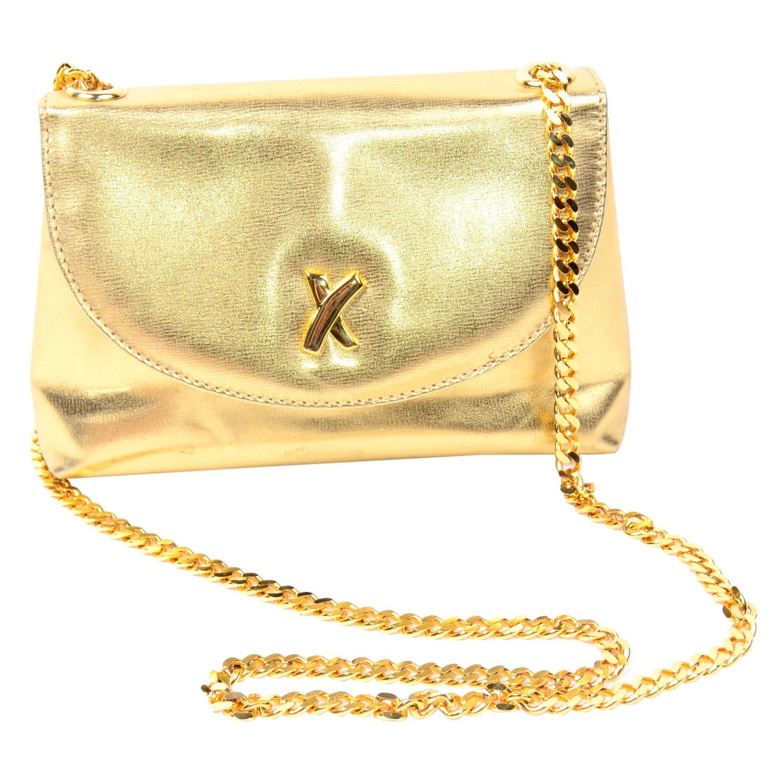 Paloma Picasso Gold Signature X Shoulder Bag With Original Dust Bag