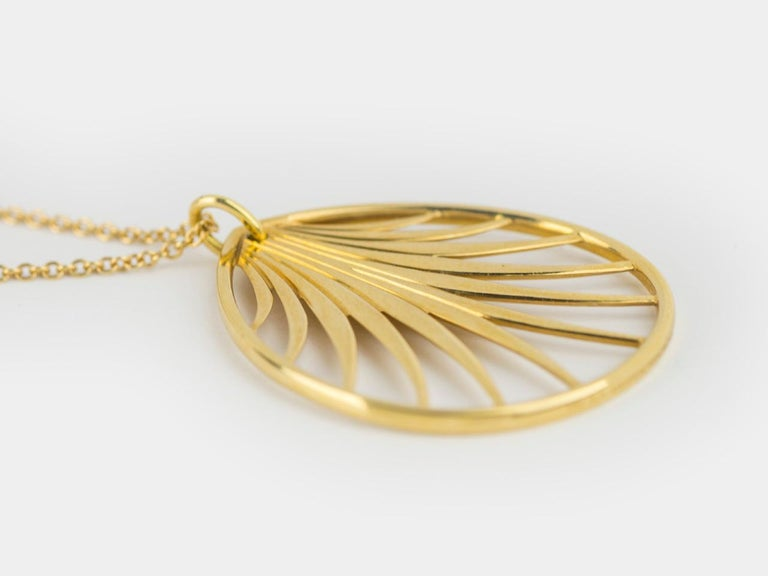 Paloma Picasso Palm Frond Pendant Necklace In Excellent Condition For Sale In San Antonio, TX