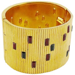 Paloma Picasso Parfums Vintage Jewelled Ribbed Design Wide Cuff Bracelet