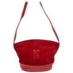 Paloma Picasso Red Suede & Leather Crossbody Bag