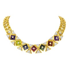 Paloma Picasso Tiffany & Co. 13.6 Carat Multi-Gem Diamond 18 Karat Gold Necklace