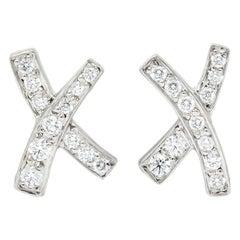 Paloma Picasso Tiffany & Co. 1980s Diamond Platinum Kiss X-Stud Earrings