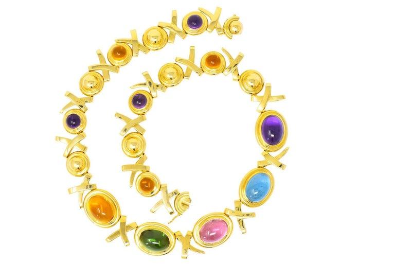 960758320 Paloma Picasso Tiffany & Co. 1983 Multi Gem 18 Karat Gold Forever X-Necklace