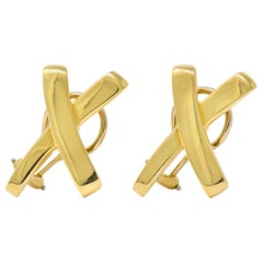 "Paloma Picasso Tiffany & Co. 1984 18 Karat Gold ""X"" Earrings"