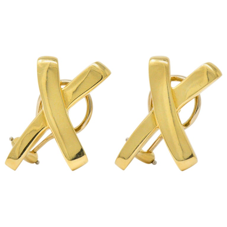 """Paloma Picasso Tiffany & Co. 1984 18 Karat Gold """"X"""" Earrings For Sale"""