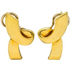 Paloma Picasso Tiffany & Co. 1986 18 Karat Yellow Gold Ribbon Earrings