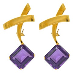 Paloma Picasso Tiffany & Co. 32.00 Carat Amethyst 18 Karat Gold X Earrings