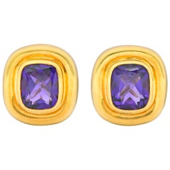 Paloma Picasso Tiffany & Co. Amethyst 18 Karat Gold Earrings, circa 1980