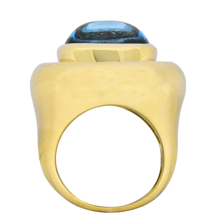 Paloma Picasso Tiffany & Co. Aquamarine 18 Karat Gold Cocktail Ring For Sale 3