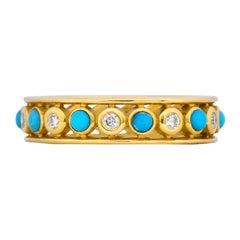 Paloma Picasso Tiffany & Co. Italy Diamond Turquoise 18 Karat Gold Band Ring