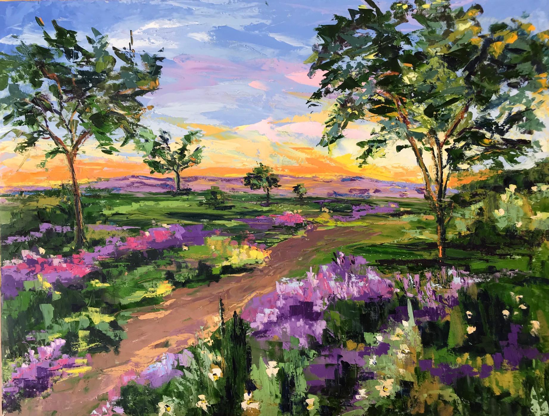 Paloma Ripolles, Sunset, Original Landscape Painting