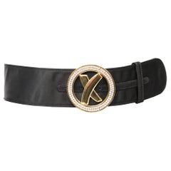Palsha Picasso Black Satin and Gold Buckle Belt