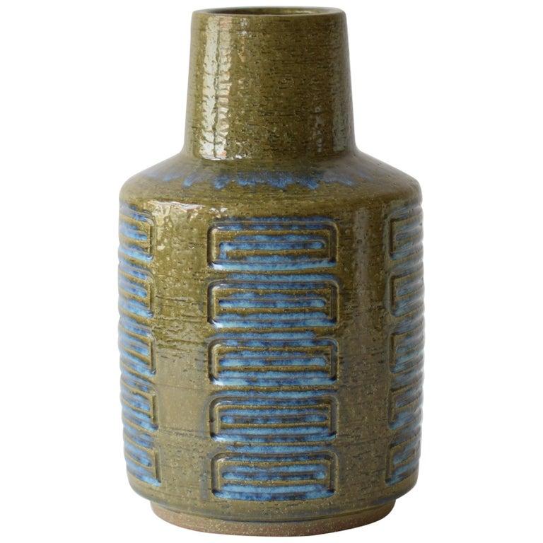 Palshus Denmark Huge Ceramic Vase Green and Blue by Per Linnemann-Schmidt, 1960s For Sale