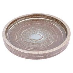 Palshus Large Ceramic Dish Bowl with Brown Beige Glaze, Danish Midcentury 1960s