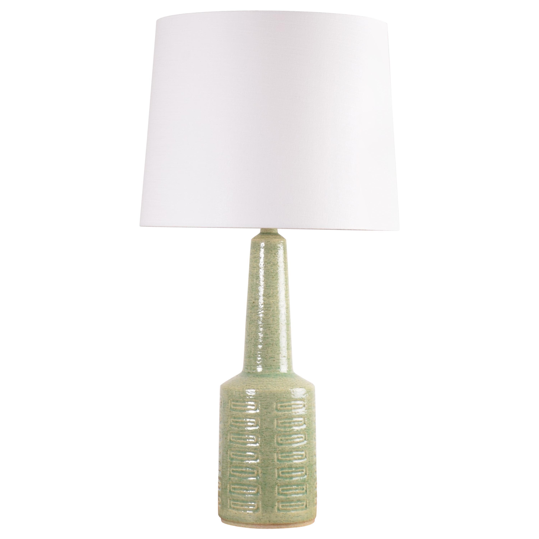 Palshus Very Tall Ceramic Table Lamp Green Glaze, Danish Midcentury Modern 1960s