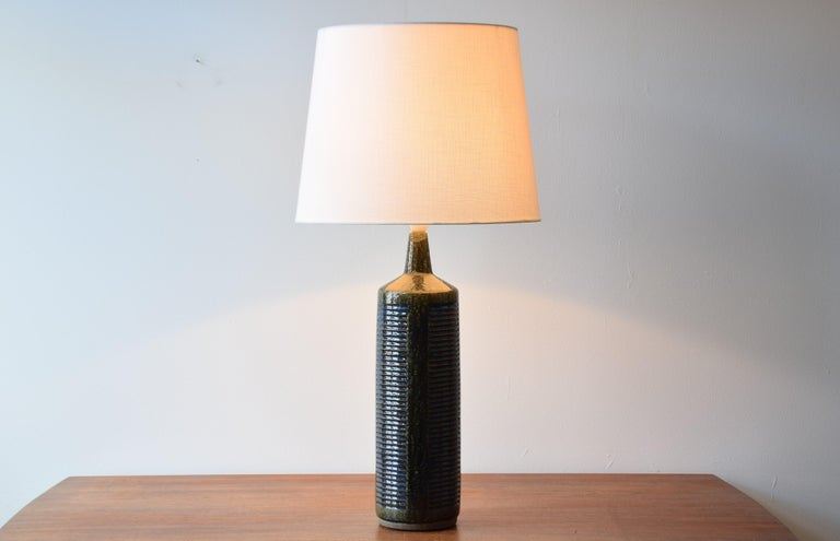 Very tall vintage Palshus Denmark table lamp including new quality lampshade!