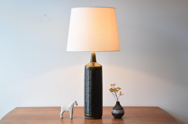 Mid-Century Modern Palshus Very Tall Table Lamp Green and Blue Danish Midcentury Ceramic, 1960s For Sale