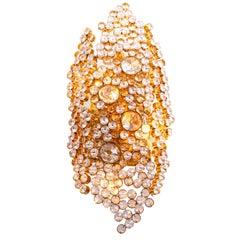 Bubble Wall Sconce 14k Gold-Plated Brass & Swarovski Crystal, Palwa Germany 1960