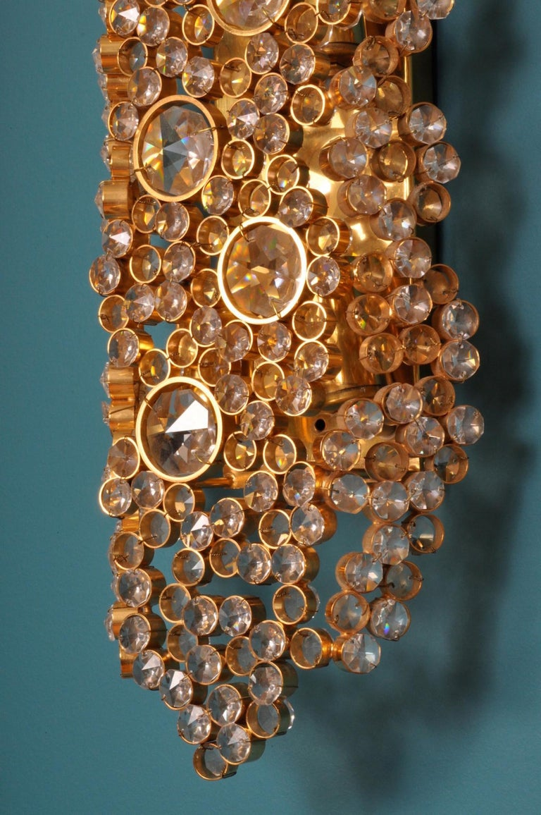 Palwa 14-Karat Gold Plated Brass & Cut Crystal Glass Sconce, Germany 1970s In Good Condition For Sale In New York, NY