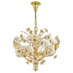 Palwa Bunch of Flowers Chandelier, Gilt Brass and Faceted Crystals, 1970s